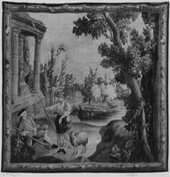 Landscape with shepherdess approaching a hunter resting by a funerary monument, Image 1