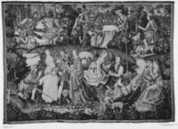 Hawking party with shepherds and shepherdesses flirting, c. 1500-1525, Fishing