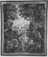 Landscape with mythological couple and putto, c. 1700-1725