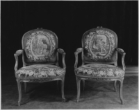Armchairs with grape harvest tapestry, unknown